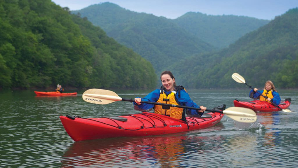 Ladies Kayaking on publics waters
